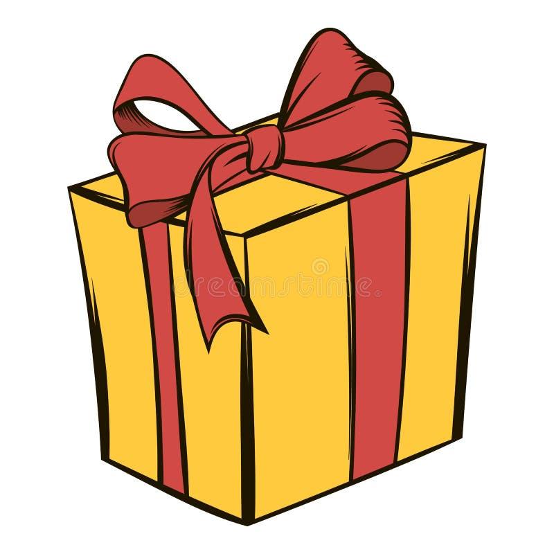 Żółty prezenta pudełko z czerwoną tasiemkową ikony kreskówką ilustracja wektor