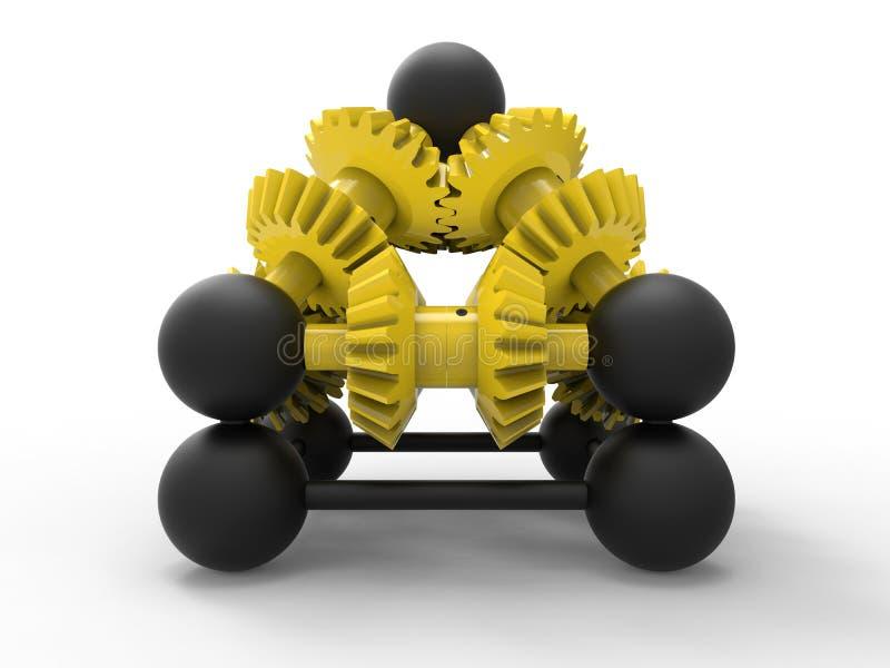 Żółty przekładnia mechanizm ilustracji