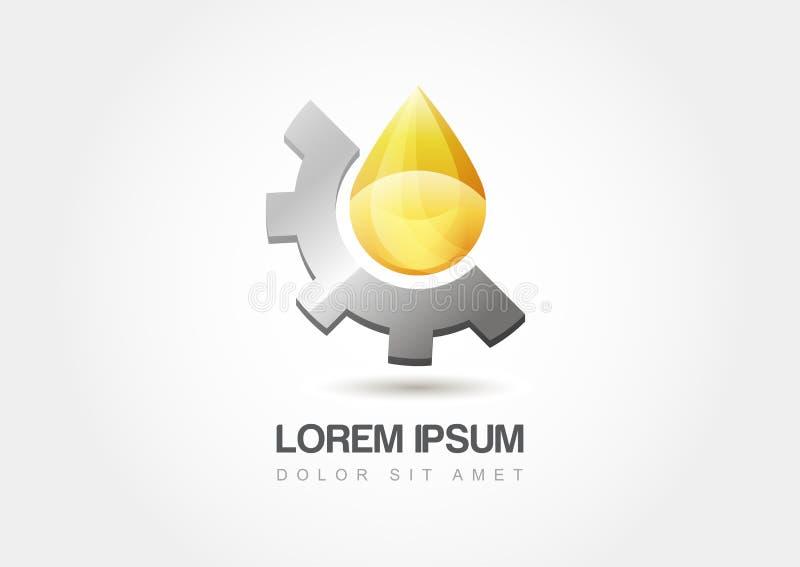 Żółty przemysł paliwowy kropli symbol z przekładni cogs Wektorowy illustra royalty ilustracja