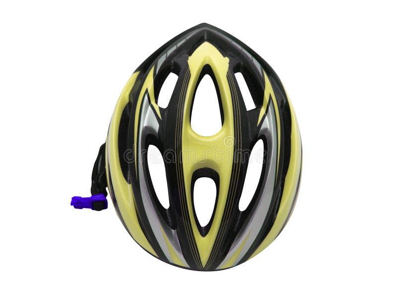 Żółty rowerowy hełma bezpieczeństwo dla cyklisty odosobnienia obraz stock