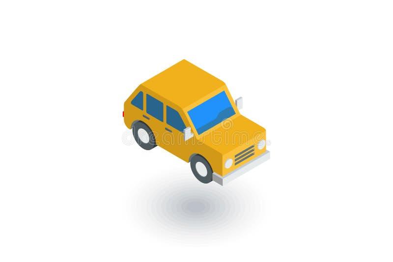 Żółty samochód, hatchback isometric płaska ikona 3d wektor royalty ilustracja