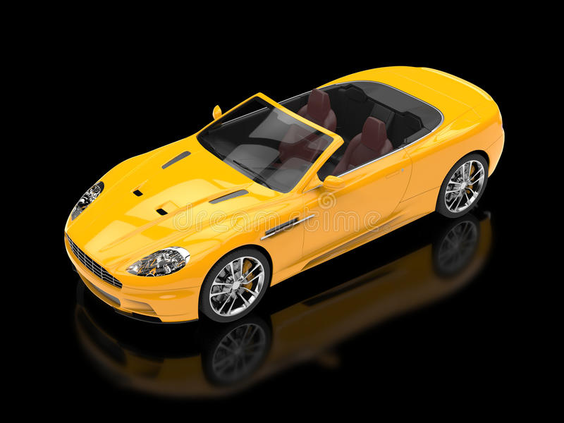 Żółty sporta samochodu kabriolet - odgórny widok ilustracji