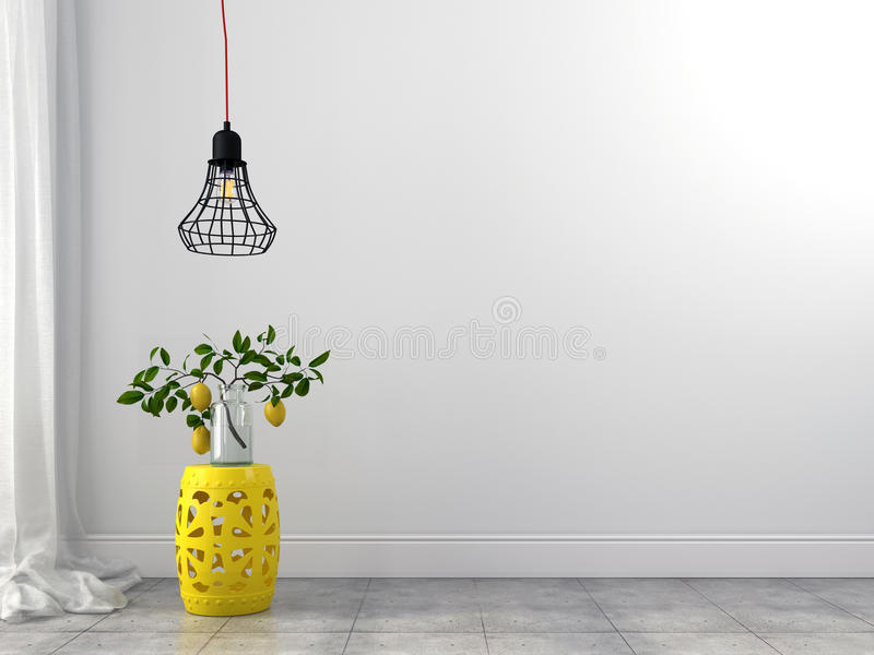 Żółty stolec i drutu świecznik obrazy royalty free