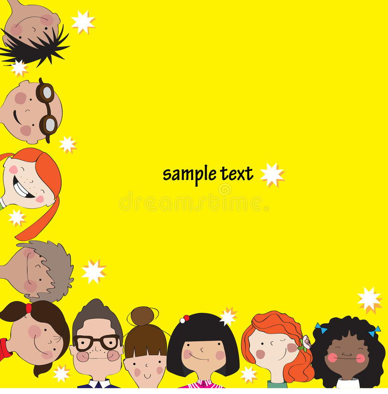 Żółty tło z zabawa dzieciakami ilustracja wektor