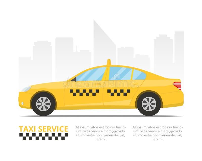 Żółty taksówki taksówkę Szablon dla sztandaru lub billboardu taxi usługa Wektorowa ilustracja w mieszkanie stylu royalty ilustracja