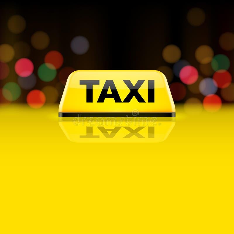 Żółty taxi samochodu dachu znak przy nocą ilustracja wektor