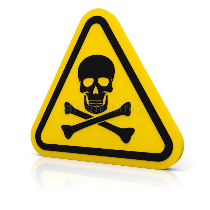 Żółty trójbok ostrzega śmiertelnego znaka royalty ilustracja