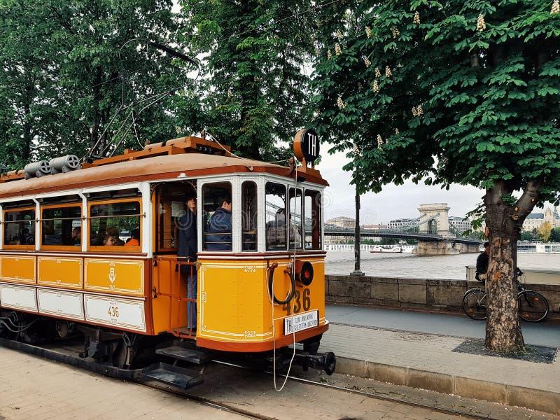 Żółty tramwaj zdjęcie royalty free