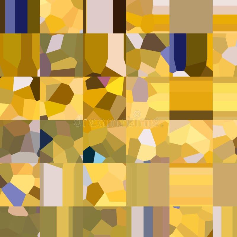 Żółty w kratkę wzór Mozaika geometryczni kształty Barwioni wieloboki abstrakcyjny tło ilustracji