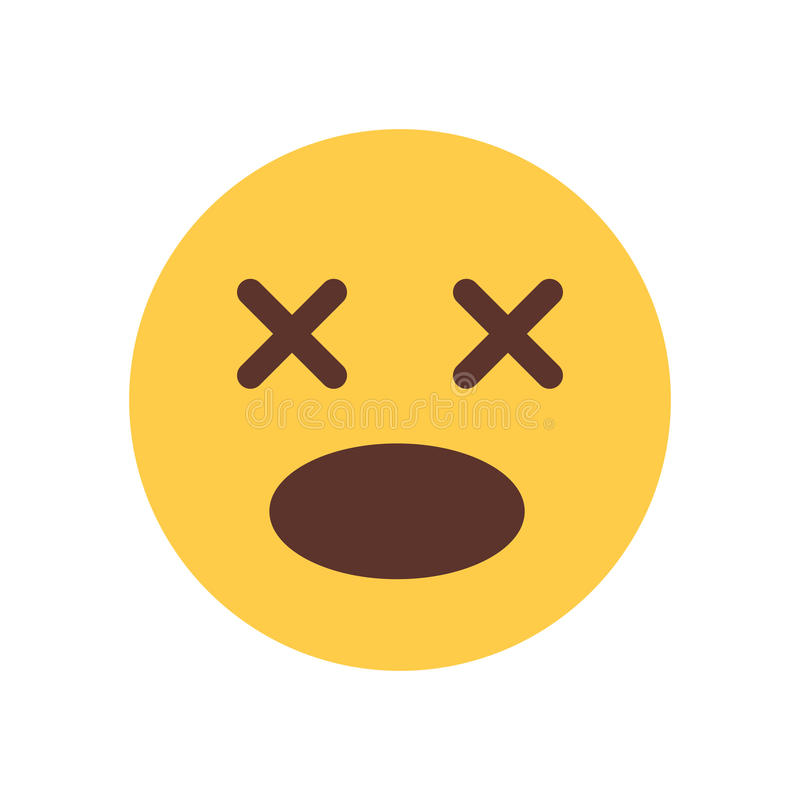 Żółty wrzask Szokujący kreskówki twarzy Emoji emoci ikony ludzie ilustracji