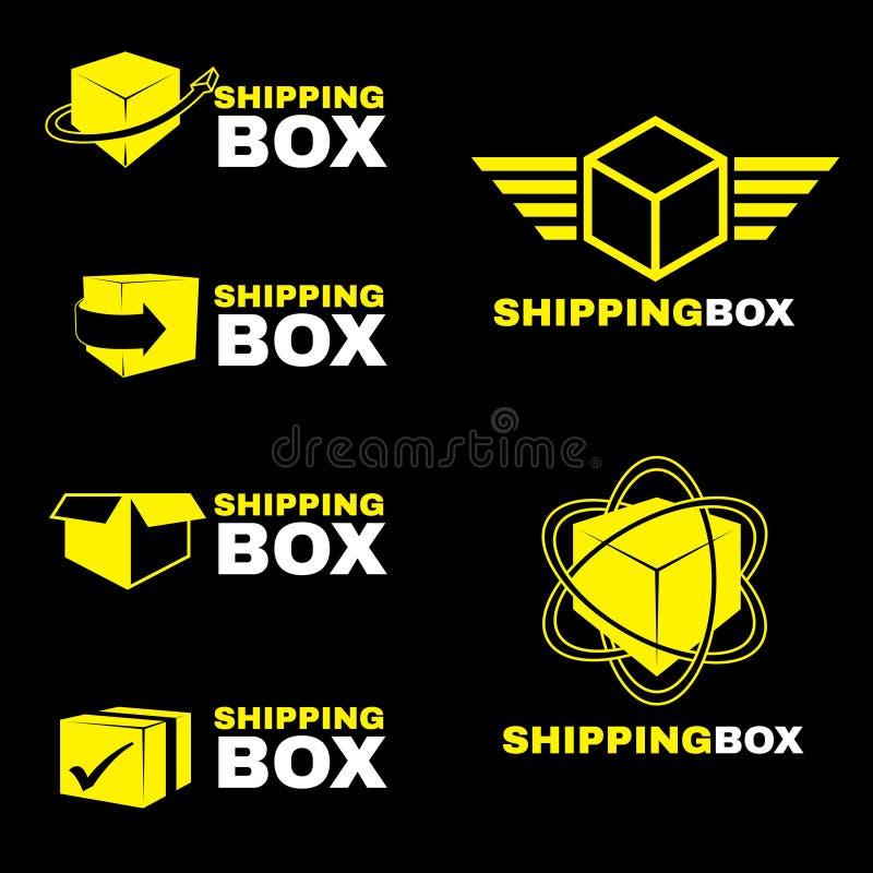 Żółty wysyłki pudełka loga znaka wektoru set odizolowywa na czerni royalty ilustracja