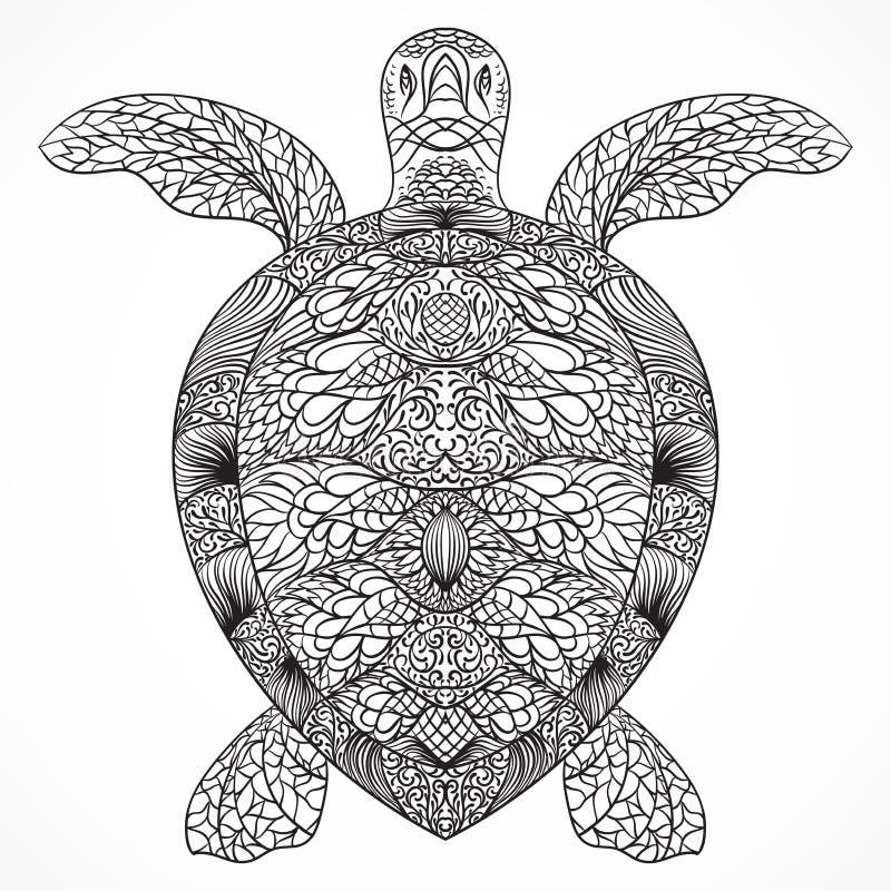 Żółw dekorujący z orientalnymi ornamentami Rocznika czarny i biały ręka rysujący wektor ilustracji