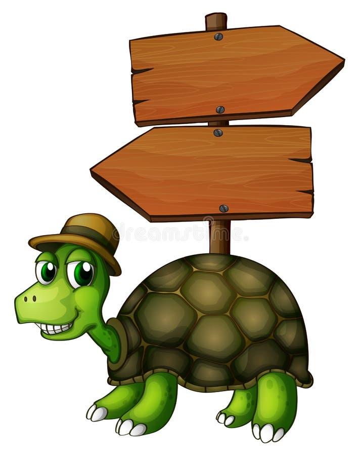 Żółw pod pustym arrowboard ilustracji