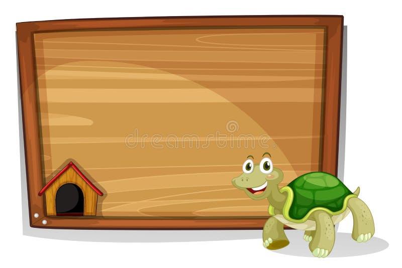 Żółw przed pustą deską ilustracji