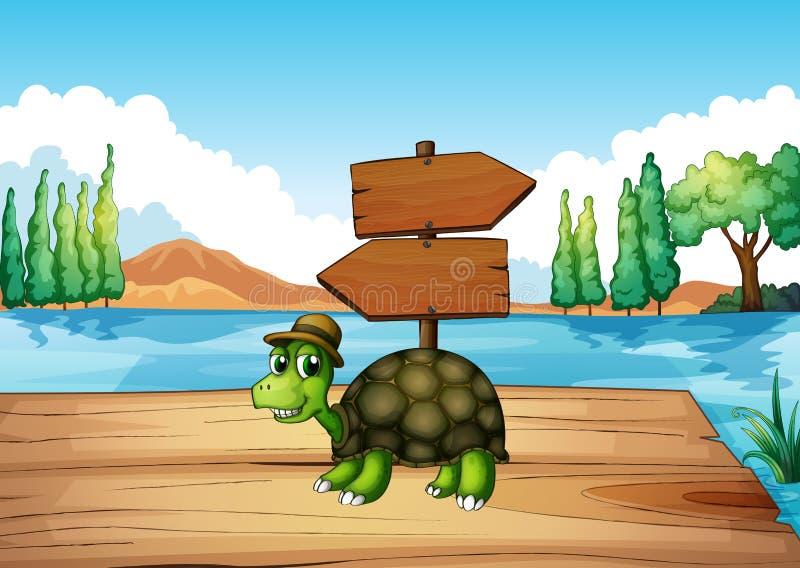 Żółw przy drewnianym mostem z pustym signboard ilustracja wektor
