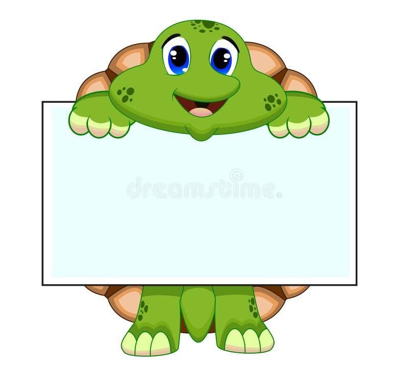 Żółw z białą deską royalty ilustracja