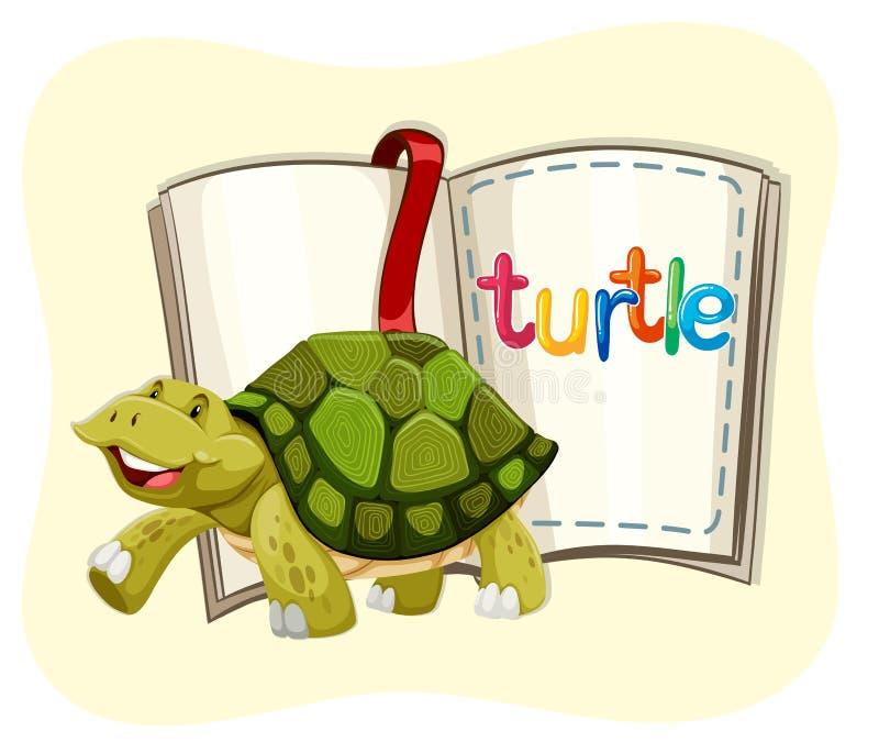 Żółwia odprowadzenie i książka royalty ilustracja