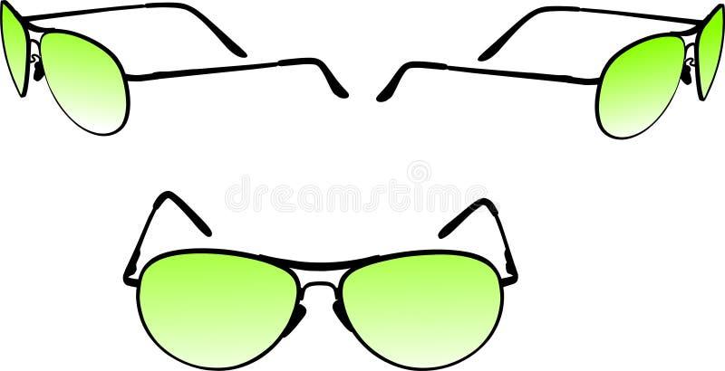 Óculos de proteção dianteiros e ângulos laterais ilustração do vetor