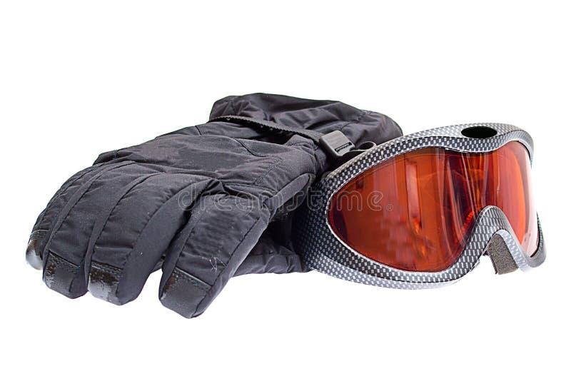 Óculos de proteção do snowboard do esqui com as luvas isoladas foto de stock royalty free