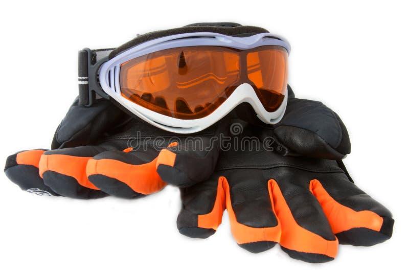Óculos de proteção e luvas do esqui fotos de stock