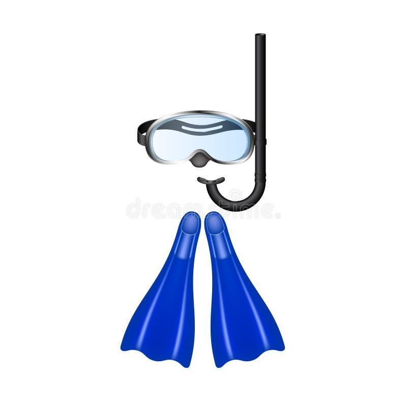 Óculos de proteção retros do mergulho com aletas ilustração stock