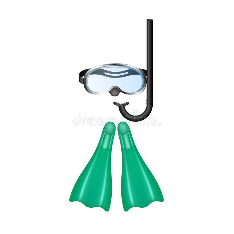 Óculos de proteção retros do mergulho com aletas cianas ilustração stock