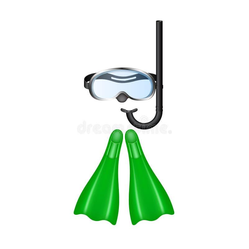 Óculos de proteção retros do mergulho com aletas verdes ilustração stock
