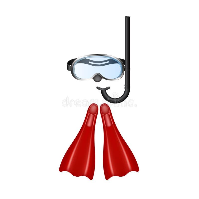 Óculos de proteção retros do mergulho com aletas vermelhas ilustração royalty free