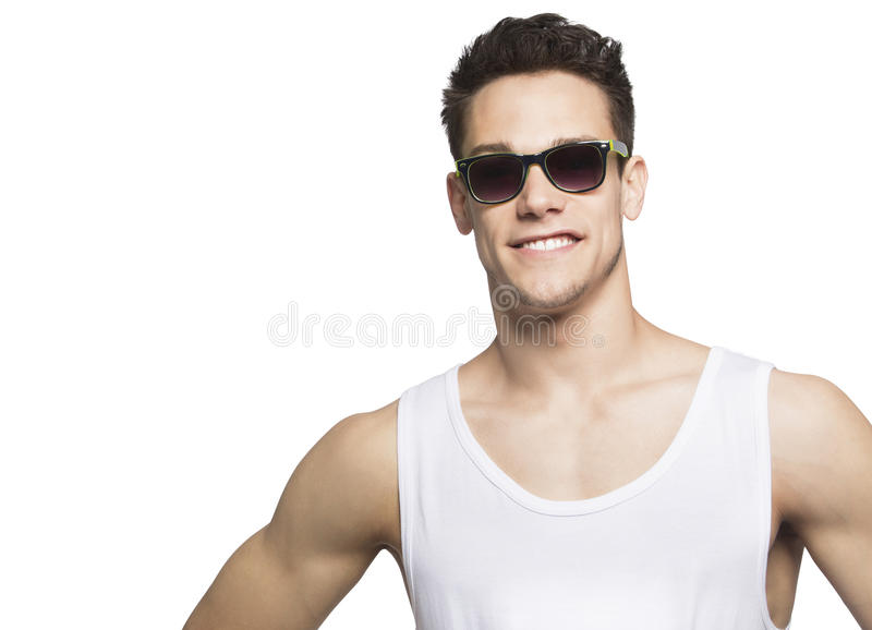 Óculos de proteção vestindo do homem novo em Tanktop imagem de stock