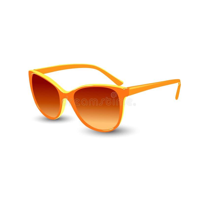 Óculos de sol alaranjados Gráfico de vetor realístico ilustração stock