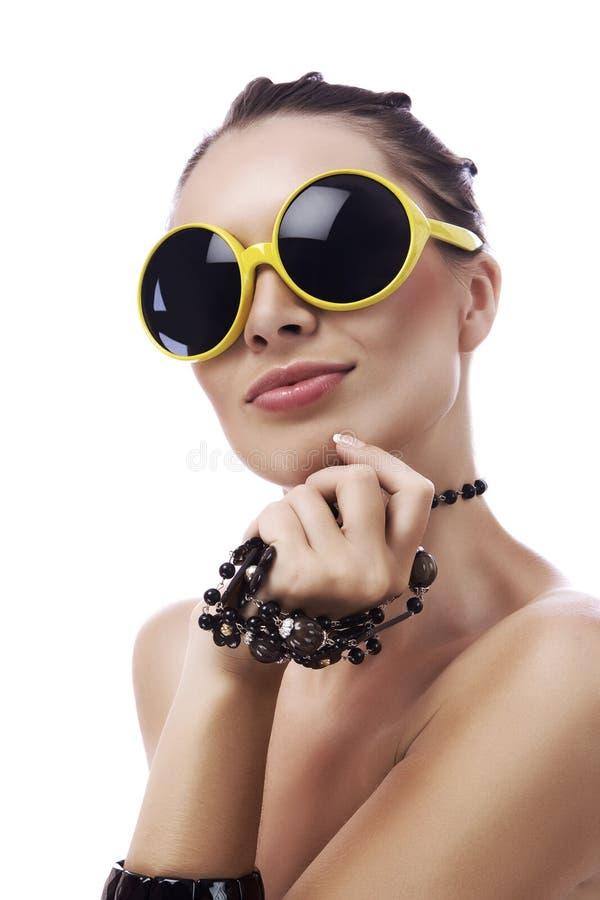 Óculos de sol amarelos imagem de stock royalty free