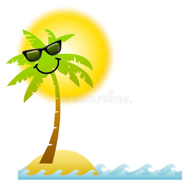 Óculos de sol da palmeira dos desenhos animados ilustração stock