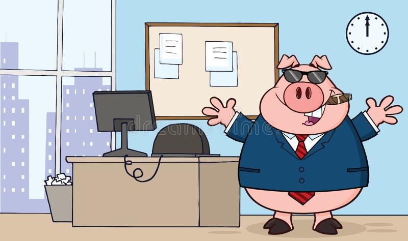 Óculos de sol de Pig Cartoon With do homem de negócios, charuto no escritório ilustração royalty free