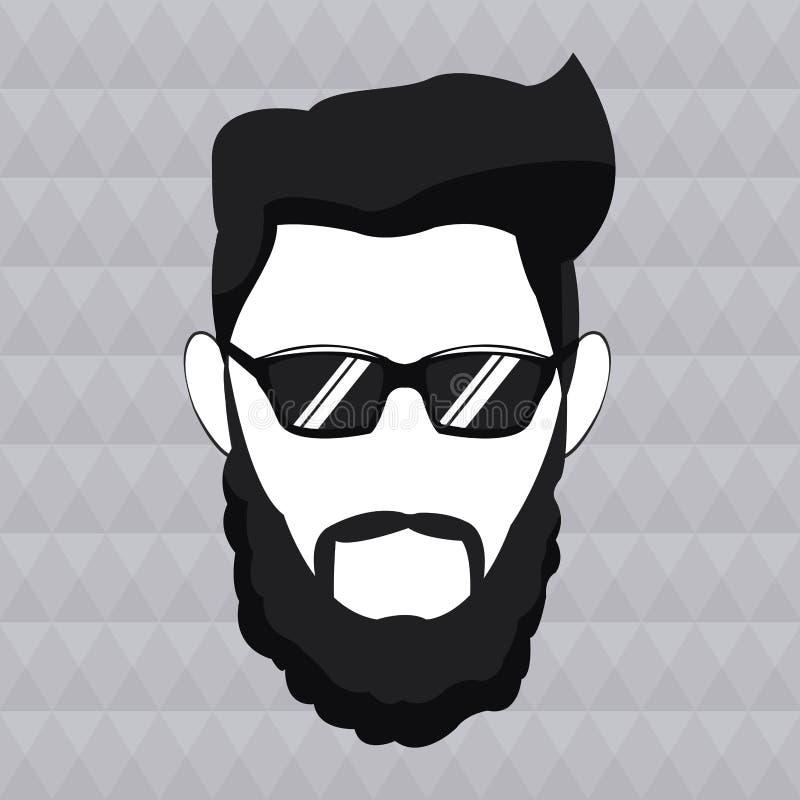 Óculos de sol do cabelo da barba do homem do moderno masculinos ilustração stock