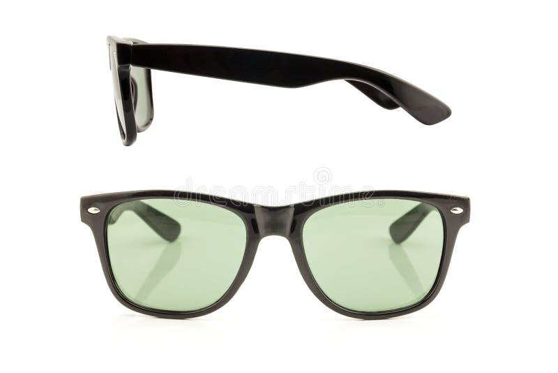 Óculos de sol do preto da vista dianteira e lateral fotos de stock royalty free