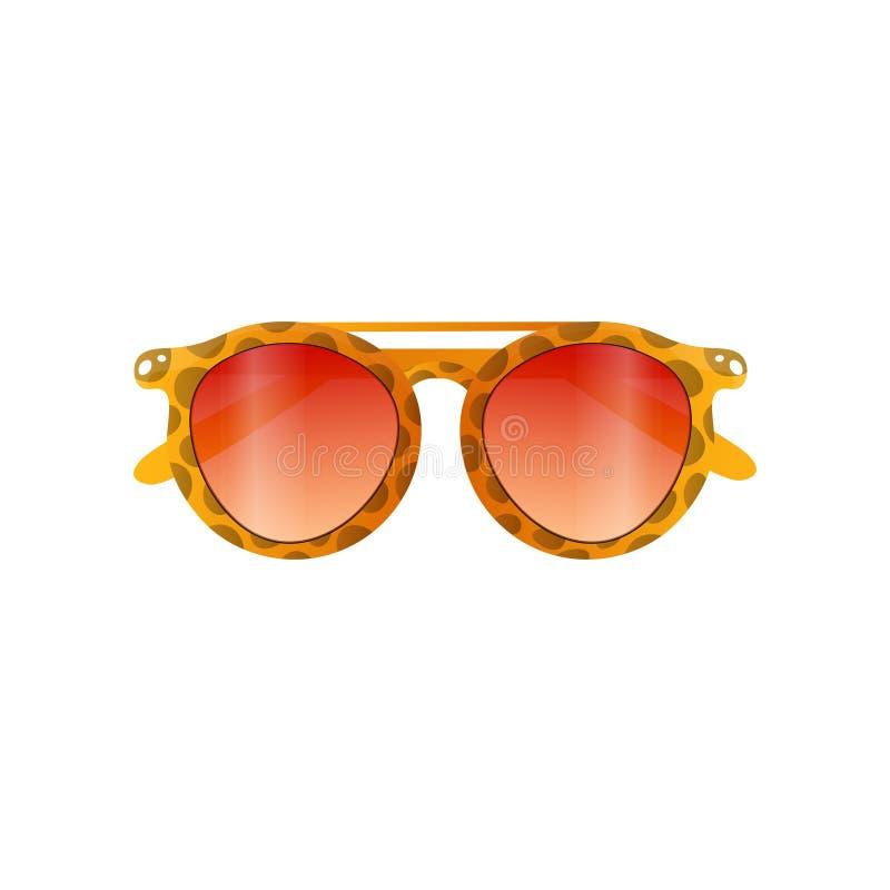 Óculos de sol do quadro da cor do tigre com a lente do marrom do inclinação ilustração stock