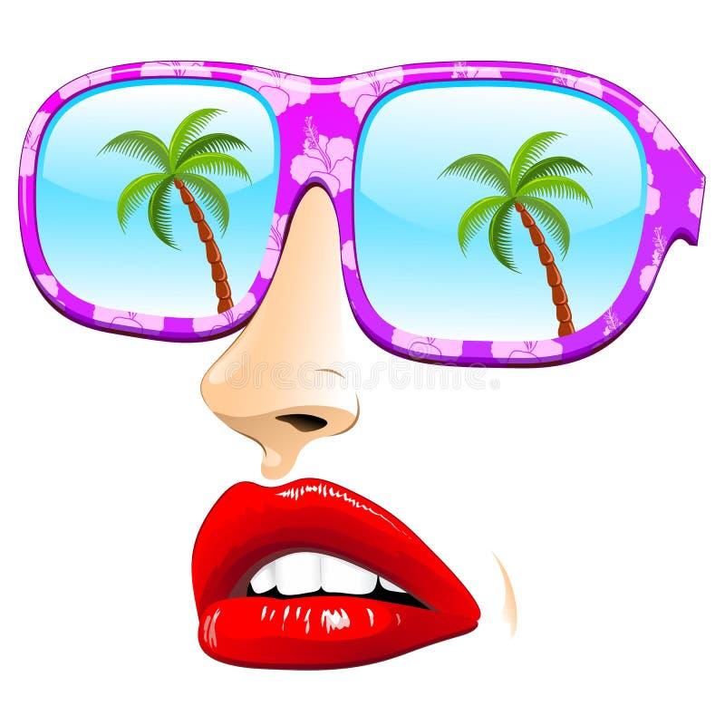 Óculos de sol do verão na cara abstrata da menina ilustração do vetor