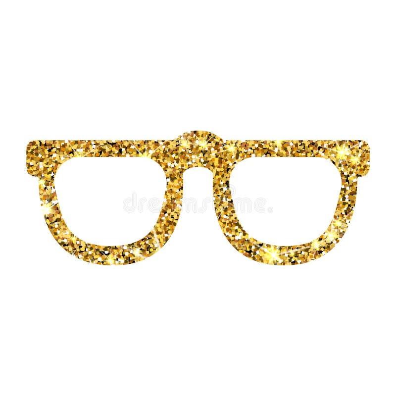 Óculos de sol do vetor do brilho do ouro ilustração royalty free