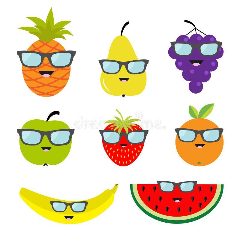 Óculos de sol dos monóculos do grupo do fruto e de baga Cara do personagem de banda desenhada Banana, morango, laranja, abacaxi,  ilustração royalty free
