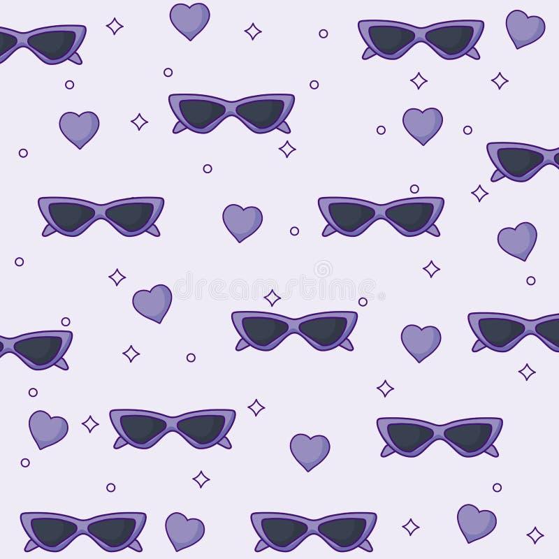 Óculos de sol e fundo dos corações ilustração stock