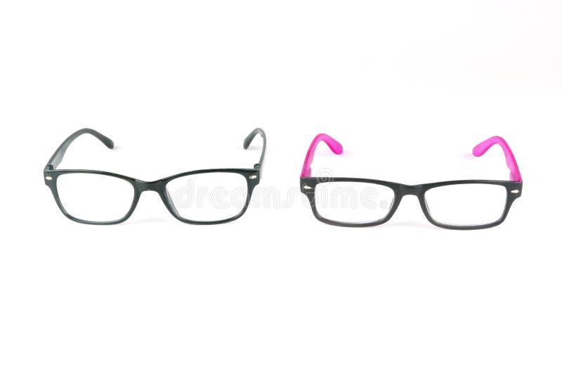 Óculos de sol pretos do quadro com os óculos de sol pretos e cor-de-rosa isolados no fundo branco fotos de stock