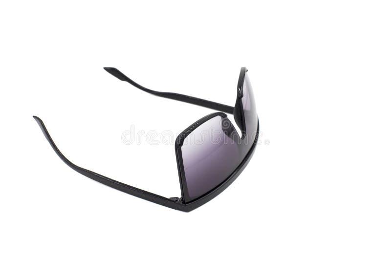 Óculos de sol pretos no fundo branco imagens de stock royalty free