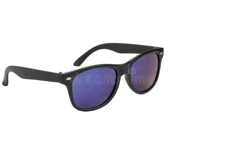 Óculos de sol, quadro preto, lentes azuis, isoladas fotos de stock royalty free