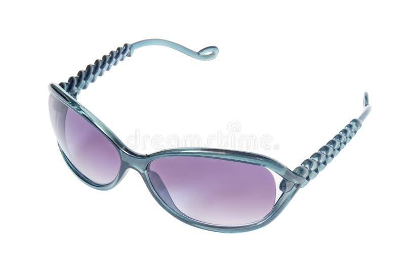 Óculos de sol, quadro verde, lentes azuis, isoladas fotografia de stock royalty free