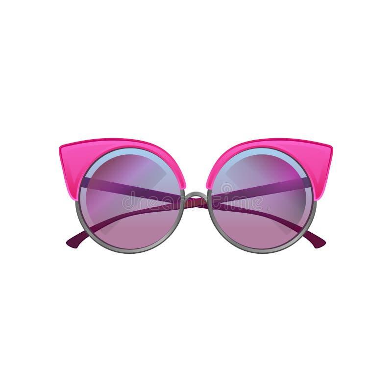Óculos de sol redondos com quadro cor-de-rosa do metal e as lentes roxas do inclinação Acessório para mulheres à moda Ícone liso  ilustração stock