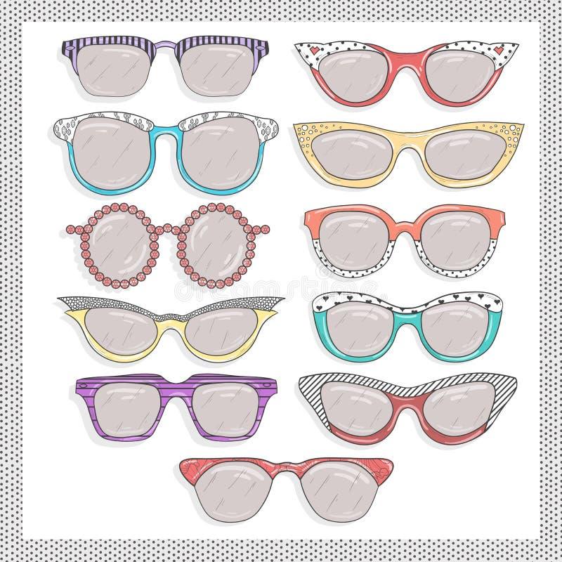 Óculos de sol retros ajustados ilustração stock
