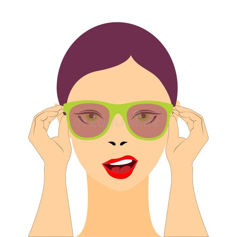 Óculos de sol vestindo da jovem mulher com uma atitude fresca ilustração royalty free