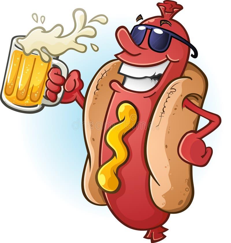 Óculos de sol vestindo dos desenhos animados do cachorro quente e cerveja fria bebendo ilustração stock