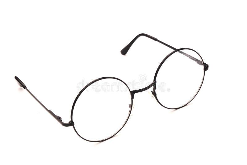 óculos pretos redondos isolados sobre fundo branco em vista aberta fotos de stock