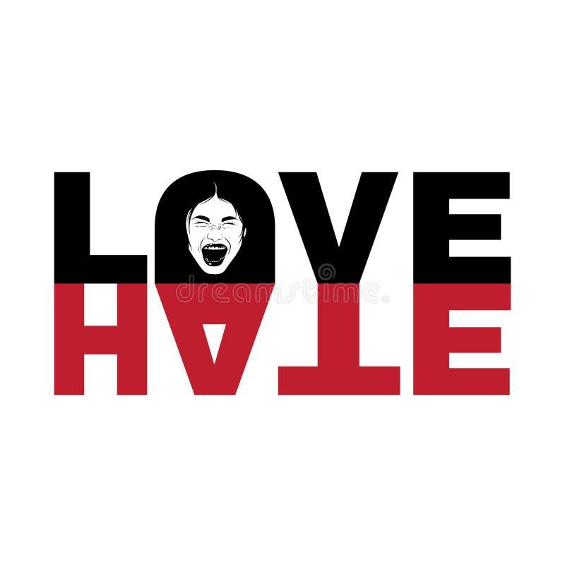 Ódio do amor Cite o fundo tipográfico com ilustração tirada mão da menina gritando ilustração stock